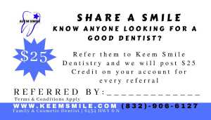 affordable dentist referral card 25 dollars keem smile dentistry houston
