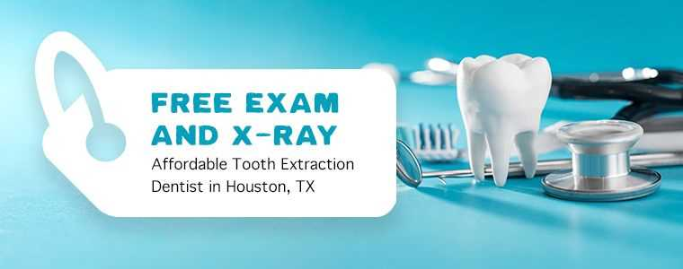 free exam and xray banner for affordable tooth extraction